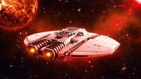 在外层空间,飞碟航天器飞行在宇宙与行星和星的外籍人太空飞船在背景,背面图, 3D中回报 向量例证