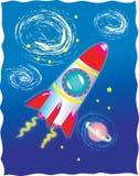 在外层空间的一枚火箭 库存图片
