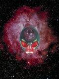 在外层空间的外籍人面孔 库存图片