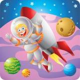 在外层空间的白肤金发的宇航员男孩火箭背包飞行 免版税图库摄影