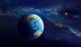 在外层空间的行星地球 免版税库存图片