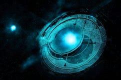 在外层空间的飞碟 图库摄影