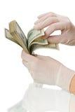 在外科手套的现有量 免版税库存照片