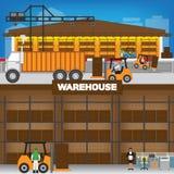 在外部里面的仓库在工作时间 皇族释放例证