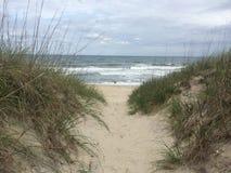 在外面银行海滩的足迹 免版税图库摄影