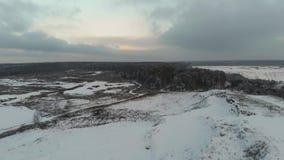 在多云天气的冬天风景 森林和领域在录影的冬天从空气 鸟瞰图 4k寄生虫飞行 股票视频