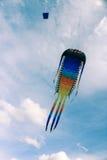 在多云天空的大风筝 免版税图库摄影