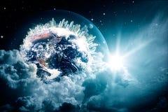 在多云天空的抽象地球视图 免版税图库摄影