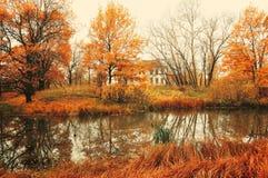 在多云有雾的天气的秋天风景 库存图片