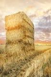 在多云黎明天空的大秸杆正方形大包 库存照片