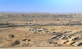 在多哈,卡塔尔郊外的鸟瞰图  免版税库存照片