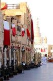 在多哈souq的旗子 库存图片