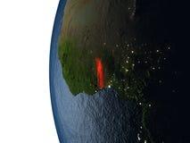 在多哥的日落从空间 皇族释放例证