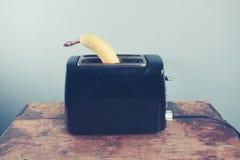 在多士炉的香蕉 库存照片