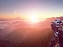 在多小山风景的桃红色破晓 早期的冬天有薄雾的早晨在土地 免版税图库摄影