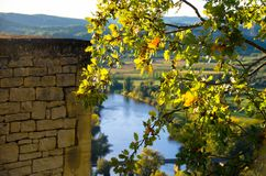 在多尔多涅省河的秋天 免版税图库摄影