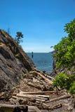 在多岩石的海滩的小峡谷在乔治亚海峡  库存照片