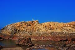 在多岩石的海滩的十字架 库存照片