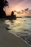 在多岩石的海滩的美好的日落 库存照片