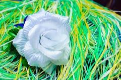 在多彩多姿的螺纹基体的人造花  免版税图库摄影