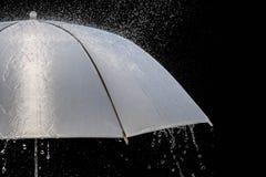 在多暴风雨的天气的湿保护伞与自然雷暴,在黑背景, 库存图片