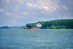 在多瑙河三角洲的大集装箱船 库存图片