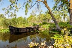 在多瑙河三角洲的小船 库存照片