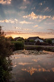 在多瑙河三角洲的日落 库存图片