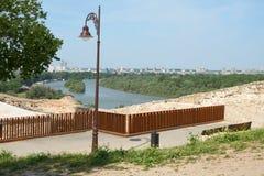 在多瑙河和新的贝尔格莱德的看法 免版税库存图片