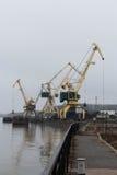 在多瑙河港的塔吊  免版税库存图片