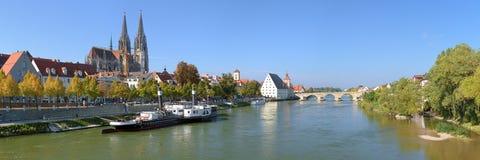 在多瑙河的全景有雷根斯堡大教堂的 免版税库存照片
