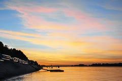 在多瑙河的日落 图库摄影