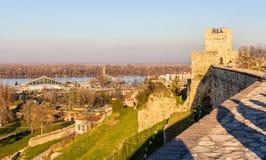 在多瑙河的看法从贝尔格莱德堡垒 免版税库存照片