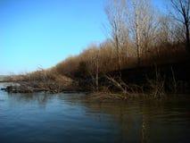 在多瑙河的秋天故事km的358 3 免版税库存图片