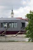 在多瑙河的水位高在布拉索夫,斯洛伐克 库存照片