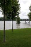 在多瑙河的洪水 免版税库存图片