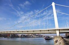 在多瑙河的Elisabeth桥梁在布达佩斯在一有雾的天 库存图片