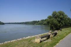 在多瑙河边缘的长凳  免版税库存图片