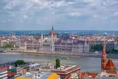在多瑙河银行的匈牙利议会在布达佩斯 库存图片