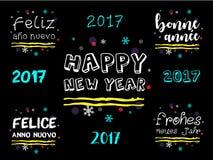 在多种语言的新年快乐2017年问候 免版税库存照片