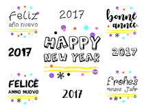 在多种语言的新年快乐2017年问候 库存图片