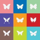 在多种颜色设置的蝴蝶象 免版税库存图片