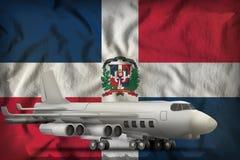 在多米尼加共和国州旗子背景的轰炸机 3d?? 向量例证