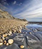 在多西特侏罗纪海岸的金黄空白 免版税库存照片