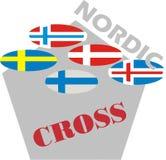 在多角形形状的北欧旗子 免版税库存照片