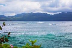 在多雨多云天气的加勒比风景 库存图片
