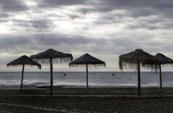 在多雨天气的海滩 免版税图库摄影
