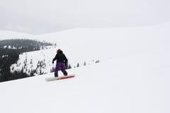 在多雪的倾斜下的挡雪板 免版税库存图片