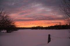 在多雪的农厂牧场地的明亮的冬天日落有fencepost的 免版税库存图片