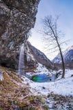 在多雪的冬天wonde的树站立的单独近的瀑布Goriuda 库存图片